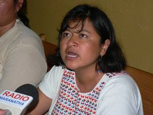 Bety Cariño alla presentazione del Foro Social Mesoamericano 2008 © (Foto G. Trucchi)