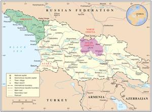 Mappa della Georgia; sono evidenziate le repubbliche autonome di Abkhazia e Adjaria (indipendenti di fatto), e la regione autonoma dell'Ossezia del sud.