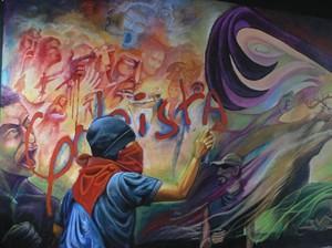Mural nella sede dello STIBYS a Tegucigalpa (Foto G. Trucchi)