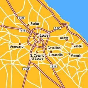 L'inceneritore fermato dalla Provincia di Lecce è a nord-ovest di Lecce, a Surbo