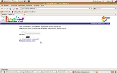 Schermata di accesso al Phpeace