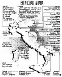 Mappa dei siti nucleari in Italia (fonte: Corriere della Sera 10-11-2003)
