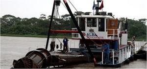 L'inizio del dragaggio del Río San Juan da parte del Nicaragua (Foto balboaradio.com)