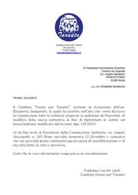 Email inviata al Presidente della Commissione Ambiente