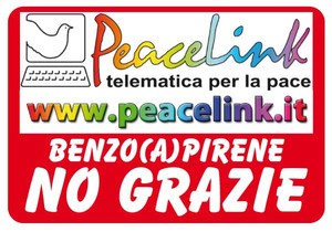 L'adesivo della campagna di PeaceLink, per riceverlo scrivere un sms al 3290980335