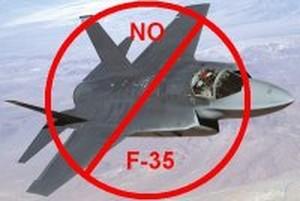 poster contro l'F-35