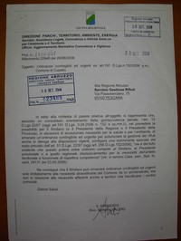 L'Avv. Valeri certifica e circoscrive in una lettera al SGR l'illeggittimità dell'Ordinanza del Sindaco di Cupello