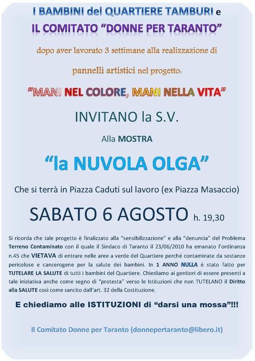 Incontro conclusivo del progetto ed esposizione a Taranto, piazza Caduti sul lavoro (il 6 agosto 2011, dalle h. 19.30).