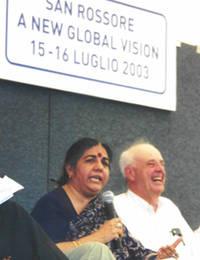 Vandana Shiva e Carlo Petrini al Meeting di San Rossore, Pisa