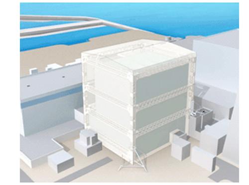 Centrale di Fukushima - modello della copertura per i reattori