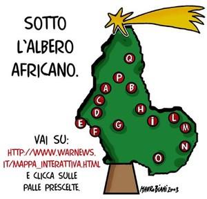 """Sotto l'albero africano. Metti i piedi nel piatto del cenone e clicca su una palla a piacere. <br> Vignetta di <a href=""""mailto:broiolo@megatrix.it"""">Mauro Biani</a> ;  <a href=""""http://www.maurobiani."""
