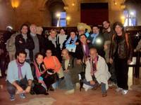 Alex Zanotelli ed una serie di attivisti per l'acqua pubblica nella Sala dei Baroni del Maschio Angioino