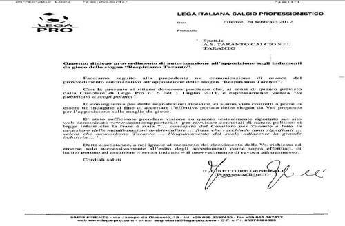 Il fax inviato dal Taranto dalla Lega Calcio