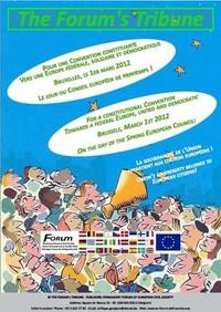 """Controvertice a Bruxelles """"Per una Convenzione costituente. Verso una Europa federale, solidale e democratica""""."""