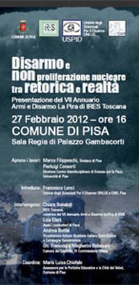 Locandina della conferenza di presentazione Annuario Disarmo di IRES Toscana