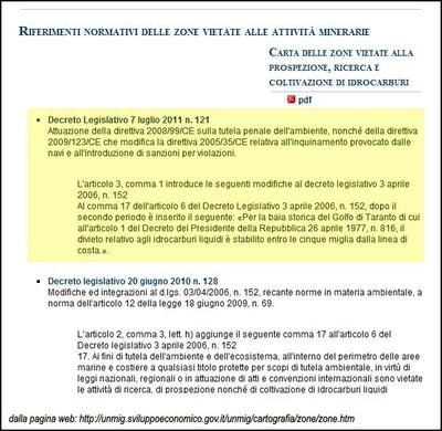 """Il decreto legislativo 121/2011 - nel Golfo di Taranto - consente trivellazioni di idrocarburi liquidi a sole 5 miglia dalla """"linea di costa"""""""