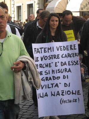 Marcia per denunciare le condizioni delle carceri e della giustizia in Italia, che ha collezionato varie condanne da parte della Corte Europea dei diritti dell'Uomo