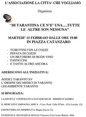 Locandina iniziativa tubettini con le cozze del 15 febbraio 2012
