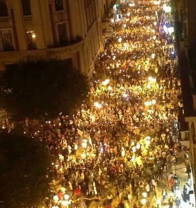 La grande Fiaccolata a Taranto il 5 ottobre 2012 a sostegno dei magistrati e in ricordo delle vittime