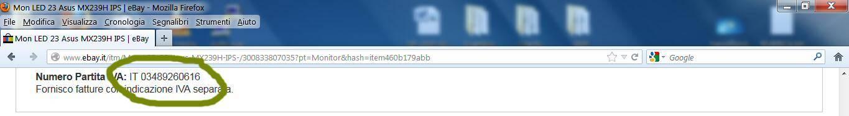 Un venditore professionale di ebay utilizza una partita IVA falsa
