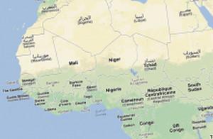 Le Mali et le Niger : capture d'écran de Google Maps