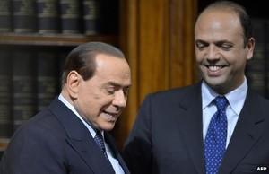 Silvio Berlusconi con il suo delfino Angelino Alfano