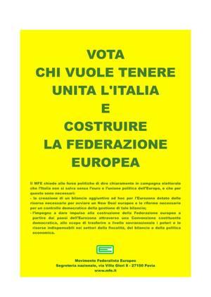 Manifesto elettorale del Movimento Federalista Europeo, elezioni 2013