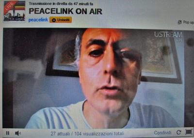 Alessandro Marescotti durante una trasmissione sul canale web Peacelink On Air