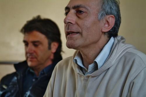 Alessandro Marescotti e Fabio Matacchiera durante la conferenza stampa per il corteo del 7 aprile