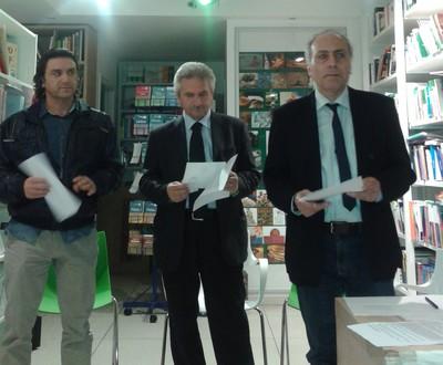 Fabio Matacchiera, Alessandro Marescotti e Aurelio Rebuzzi durante la conferenza stampa del 29 aprile