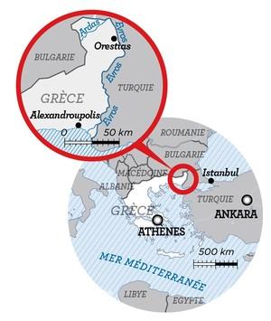 Mappa della zona di confine Turchi - Grecia
