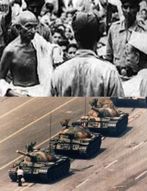 Gandhi confrontation; protester Tienanmien