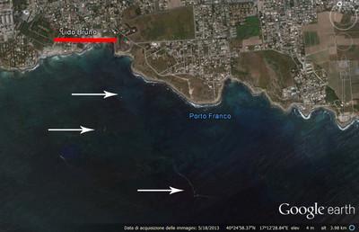 il mare di lido bruno dal satellite