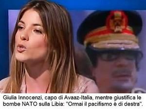 """Giulia Innocenzi, progressista e capo di Avaaz-Italia, mentre giustificava in tv il bombardamento NATO/italiano della Libia: """"Ormai il pacifismo è di destra""""."""