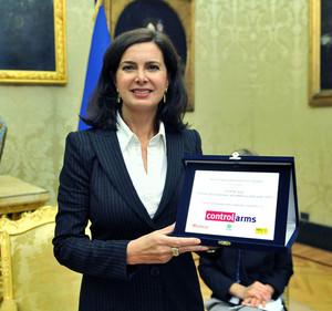 Targa Control Arms alla presidente della Camera - foto Umberto Battaglia