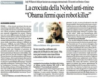 "La crociata della Nobel anti-mine ""Obama fermi quei robot killer"""