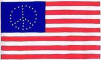 Bandiera statunitense con le stelle disposte a formare il simbolo pacifista