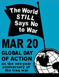 """""""Il mondo dice ancora no alla guerra"""". Logo della manifestazione internazionale indetta dai pacifisti americani per il 20 marzo 2004."""
