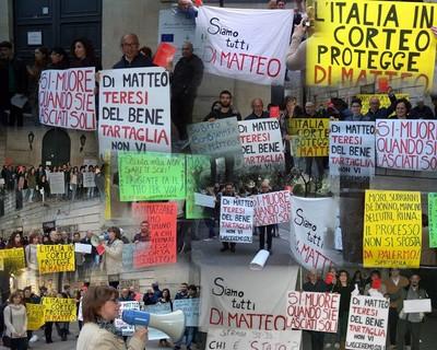 Immagini dai sit in per sostenere e proteggere Di Matteo