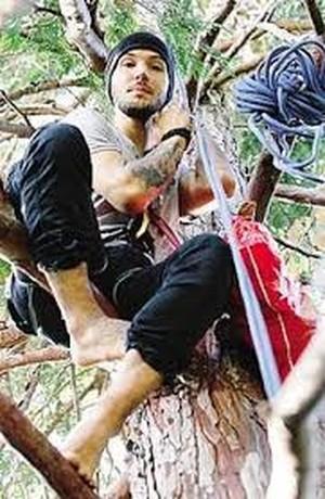 Michele Forzinetti arrampicato sull'albero