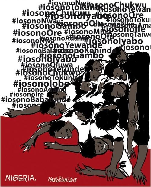 Strage in Nigeria: 2000 morti... senza nomi.   Disegno di Mauro Biani, il Manifesto, 11-1-2014