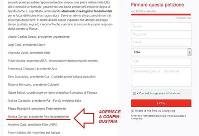 Monica Cerroni (Assoambiente) ha firmato la petizione di Legambiente