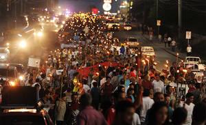 Protesta a Tegucigalpa (Foto La Tribuna)