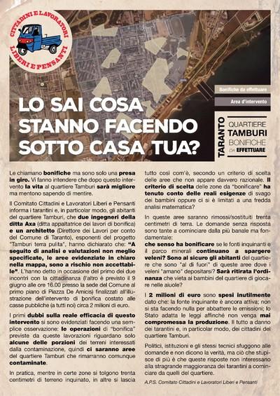 manifesto bonifiche tamburi Comitato Cittadini Lavoratori Liberi e Pensanti