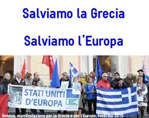 Genova, manifestazione per la Grecia, Piazza De Ferrari, febbraio 2015
