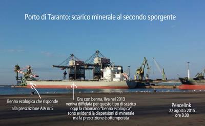 scarico minerale nel porto di taranto e dispersione di minerale dalle benne