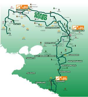 La mappa della Green Road in provincia di Taranto