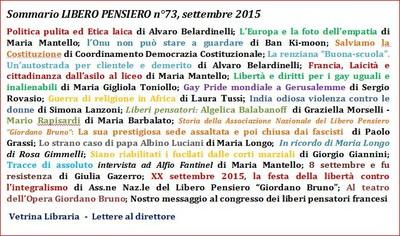 Sommario della Rivista n. 73 dell'Associazione Libero Pensiero Giordano Bruno