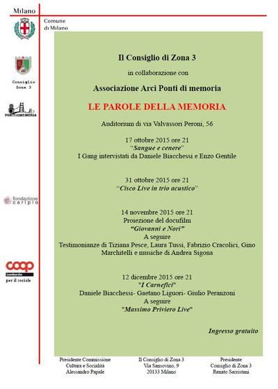 Rassegna LE PAROLE DELLA MEMORIA, 2015