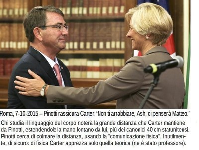Italian Defense Minister Roberta Pinotti, right, and US Secretary of Defense Ashton Carter  in Rome, Oct. 7, 2015.
